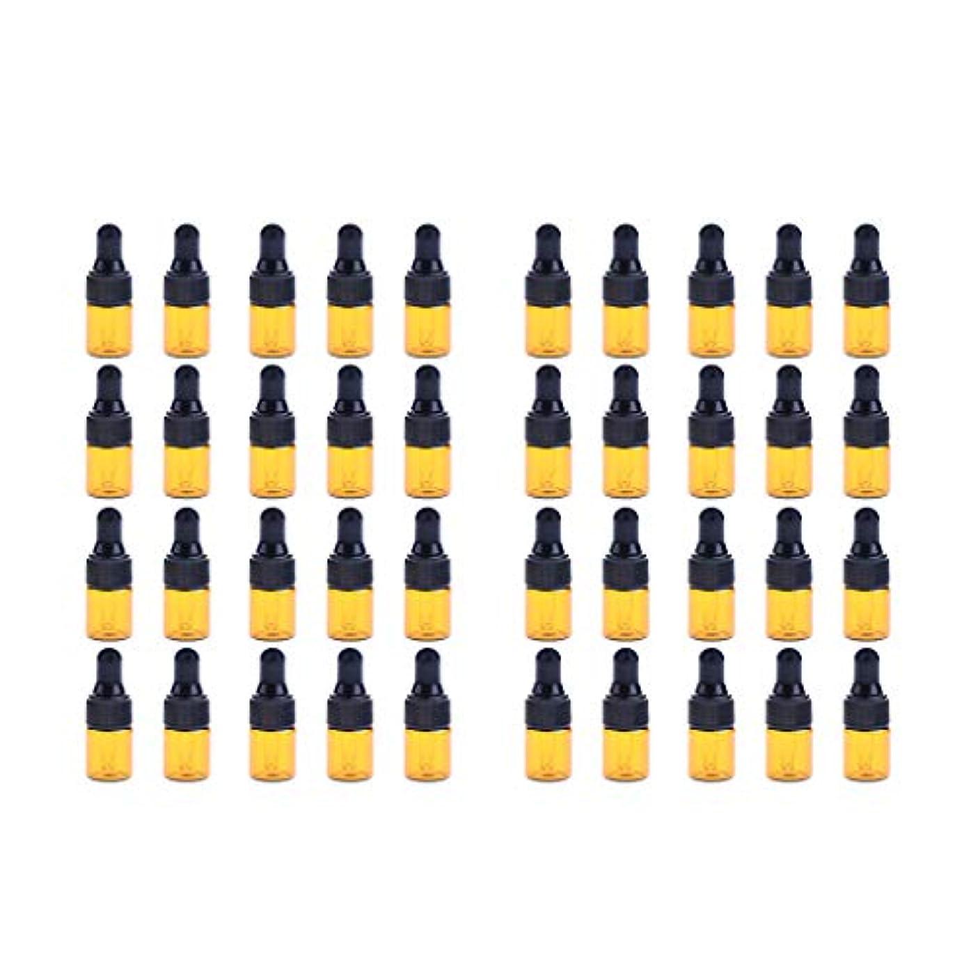 日大胆な市区町村Fenteer ドロッパーボトル 精油 ミニサイズ 詰め替え可 ガラス スポイトボトル 1ml /2ml 40個入