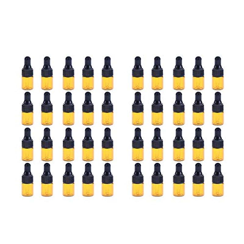 法王レコーダー脈拍Fenteer ドロッパーボトル 精油 ミニサイズ 詰め替え可 ガラス スポイトボトル 1ml /2ml 40個入