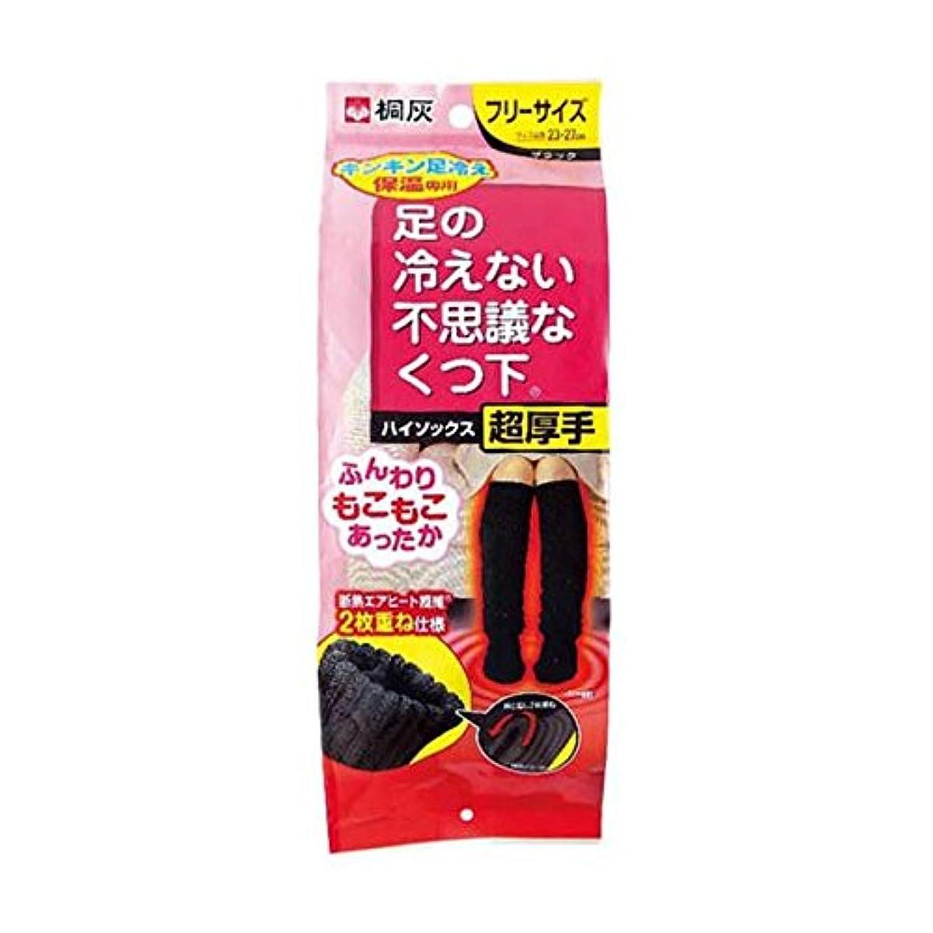【まとめ買い】桐灰化学 足の冷えない不思議なくつ下 ハイソックス 超厚手 キンキン足冷え保温専用 フリーサイズ 黒色 1足分(2個入) ×2個セット