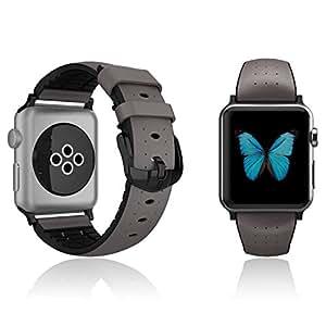 Patchworks Apple Watch 38mm ベルト Air Strap グレー 【 純革 高品質 ハイブリッド 】 アップル ウォッチ 38mm ベルト
