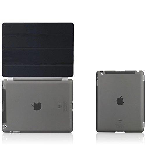 iPad2 iPad3 iPad4超薄型 スタンド仕様 マグネット スマート式 ケース カバーと半透明プラスティック製バックカバー 液晶保護フィルム付き ブラック