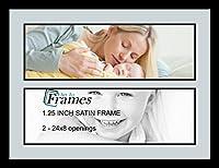ArtToFrames アルファベットフォトフレーム  6x20インチ 2窓 サテンブラックフレーム 2 - 8x24 Double-Multimat-1578-860/89-FRBW26079