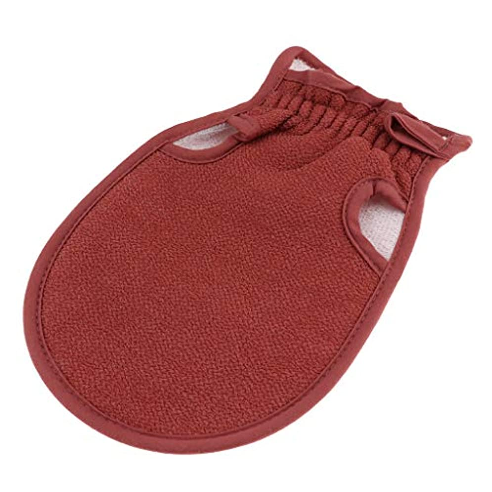 宇宙豆ベーコン全4色 浴用手袋 ボディタオル 垢すり手袋 バス用品 両面デザイン 毛穴清潔 角質除去 男女兼用 - コーヒー