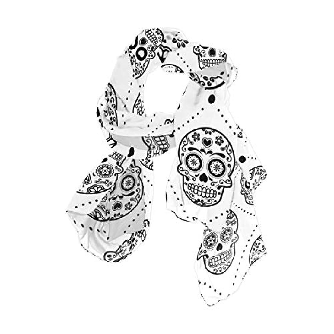 トレーニング泥棒参加するユサキ(USAKI) スカーフ レディース 大判 チェック柄 スカル 髑髏 ストール 春夏秋冬 UVカット 冷房対策 シルク 肌触り ショール パーティー 90×180cm