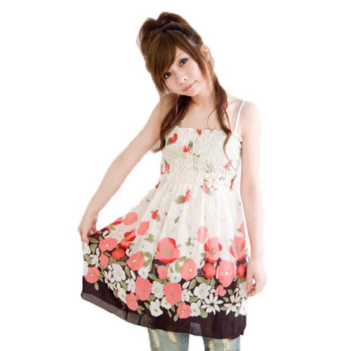 my closet 当店オリジナル仕様 ふんわり花柄シフォンチュニックキャミワンピース レッド