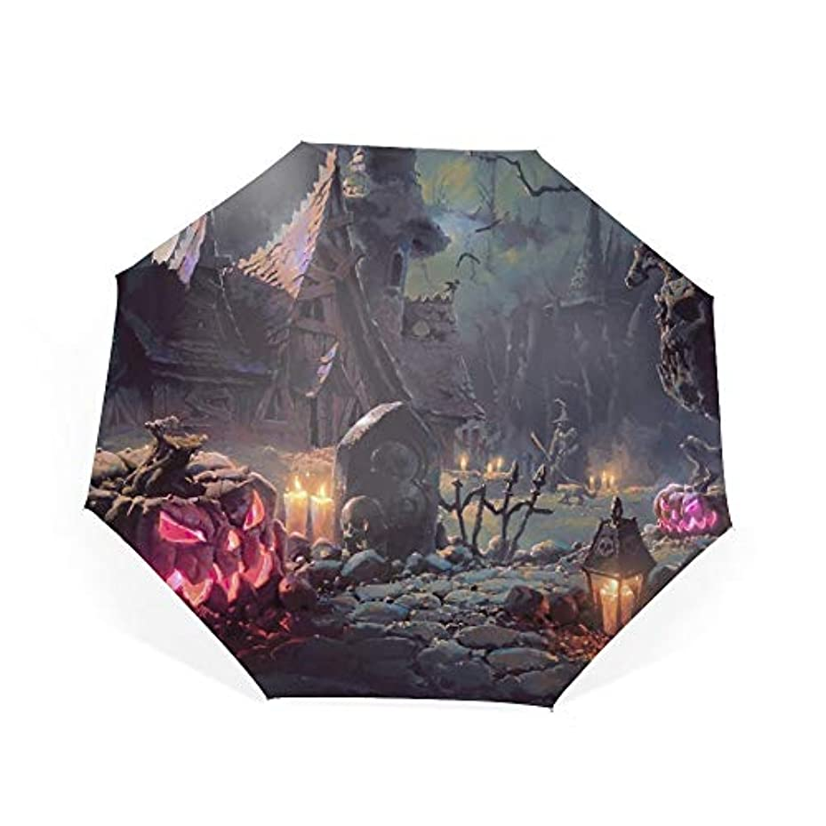 朝ごはん繰り返す賢明な日傘 uvカット 100%遮光 折りたたみ 男女兼用 レディース 自動開閉 晴雨兼用 ハロウィーンアートワーク