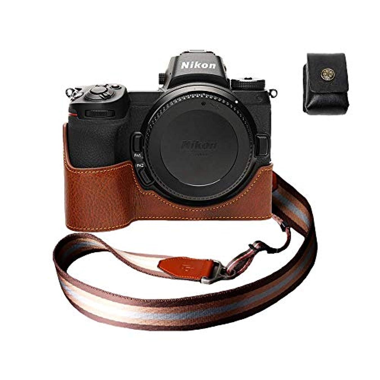 友だち驚いたことにリダクターニコン Z7 Z6 本革カメラケース バッテリー交換可能タイプ ブラウン