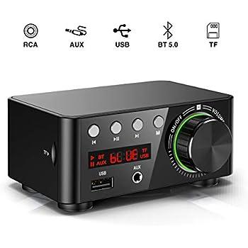 50W*2 Stereo Bluetooth 5.0 Digital Power Amplifier Mini HiFi Amp AUX USB Class D