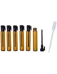 JJKMALL- 100pcs 1ml (1/4 Dram) Amber Mini Glass Bottle 1cc Amber Sample Vial Small Essential Oil Bottle Travel...
