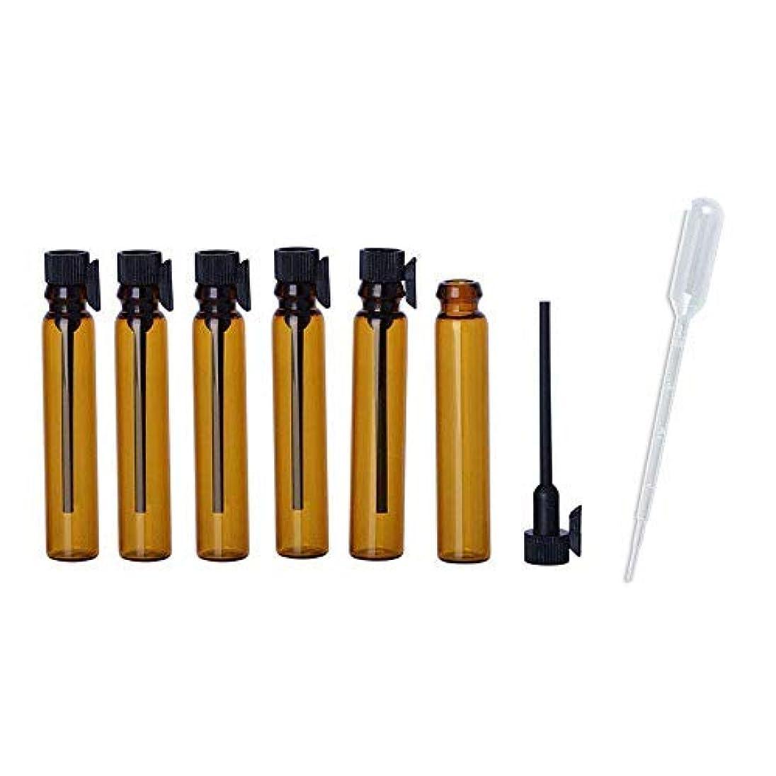 気性娯楽ダースJJKMALL- 100pcs 1ml (1/4 Dram) Amber Mini Glass Bottle 1cc Amber Sample Vial Small Essential Oil Bottle Travel...