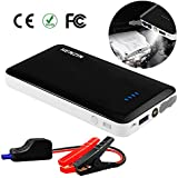 HENZIN 400A Peak 7500mAh 12V Ultra-Thin Car Jump Starter Portable Auto Battery Booster Phone Power Bank Smart Jumper Cables (up to 2.5L Gas), Built-in LED Emergency Flashlight - Black