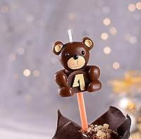キャンドルティーウォーマー、クマデジタルキャンドル0 9番号無煙誕生日のキャンドルのために赤ちゃんのショー少年少女の子供アニバーサリーケーキデコレーションベーキングツール、B4