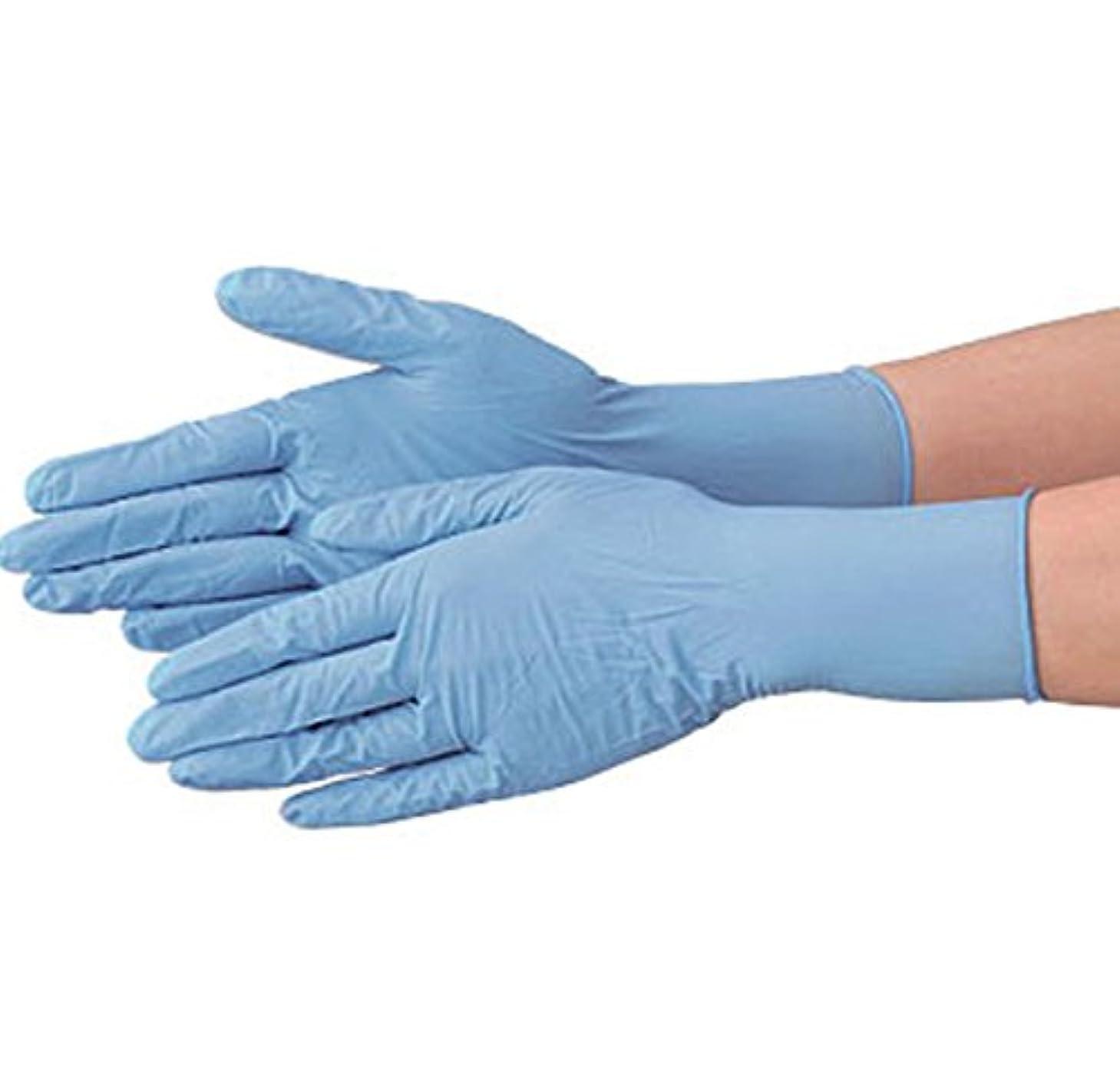 写真の崖ピストン使い捨て 手袋 エブノ 536 ニトリルNEOライト ブルー Lサイズ パウダーフリー 2ケース(100枚×60箱)