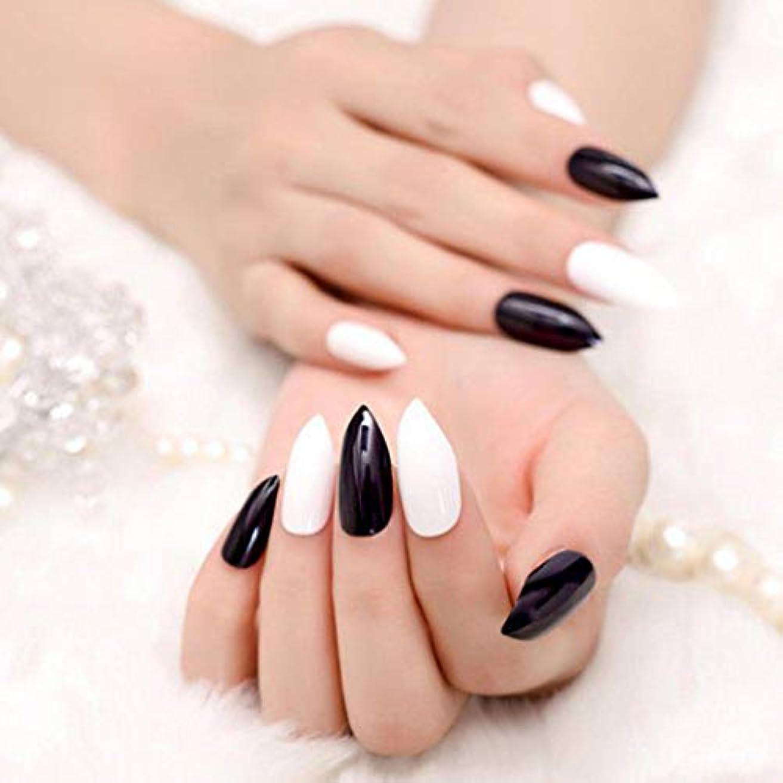 豊富適用済みマートXUTXZKA 24個のソリッドカラーの偽の爪黒白先のとがった湾曲した爪のヒント