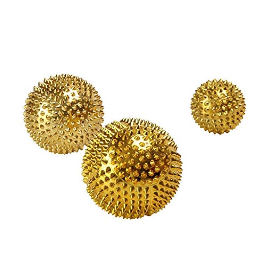 アラートささやきせがむ3pcs Palms Foot Massage Tool Body Acupressure Spiky Plantar Fasciitis Massage Balls 3.2 Cm + 4.5 Cm + 5.6 Cm Gold/Ser - ゴールド