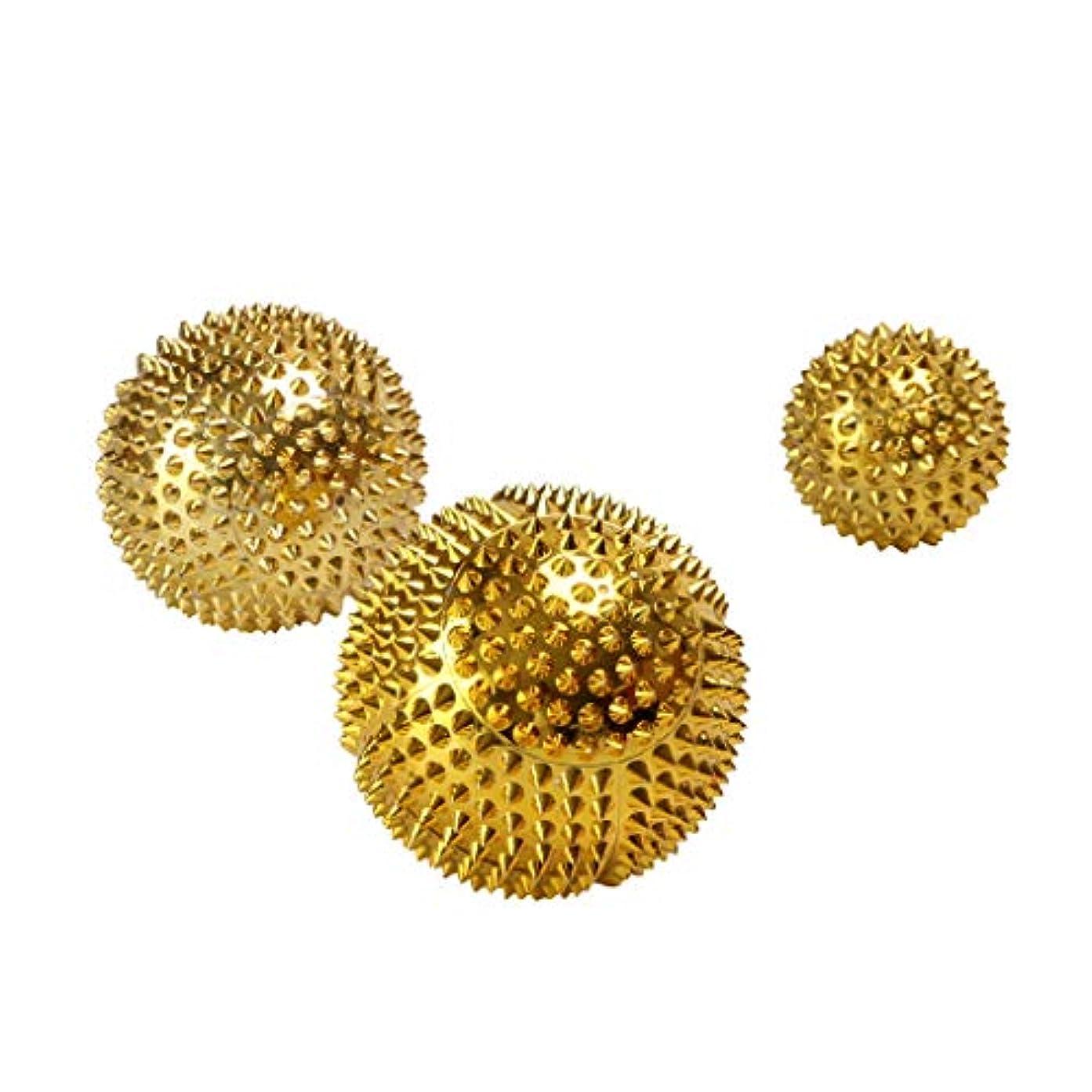 やりすぎレジデンス確保する3pcs Palms Foot Massage Tool Body Acupressure Spiky Plantar Fasciitis Massage Balls 3.2 Cm + 4.5 Cm + 5.6 Cm Gold/Ser - ゴールド