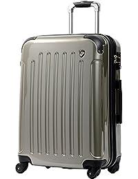 [グリフィンランド]_Griffinland TSAロック搭載 スーツケース 超軽量 ミラー加工 newFK1037 ファスナー開閉式 【1年間修理保証対応】