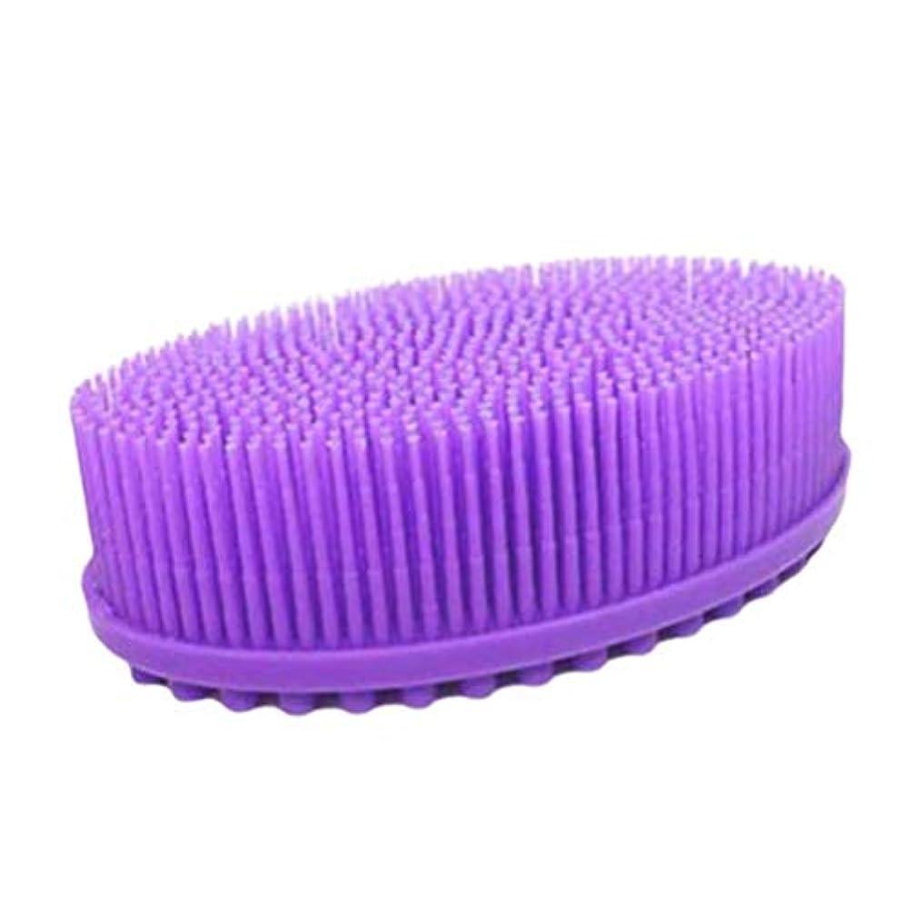 メドレー哺乳類遅らせるTOPBATHY ベビーシリコンボディヘアシャンプーブラシバスバックブラシスキンマッサージラウンドヘッドボディシャワーブラシ(紫)