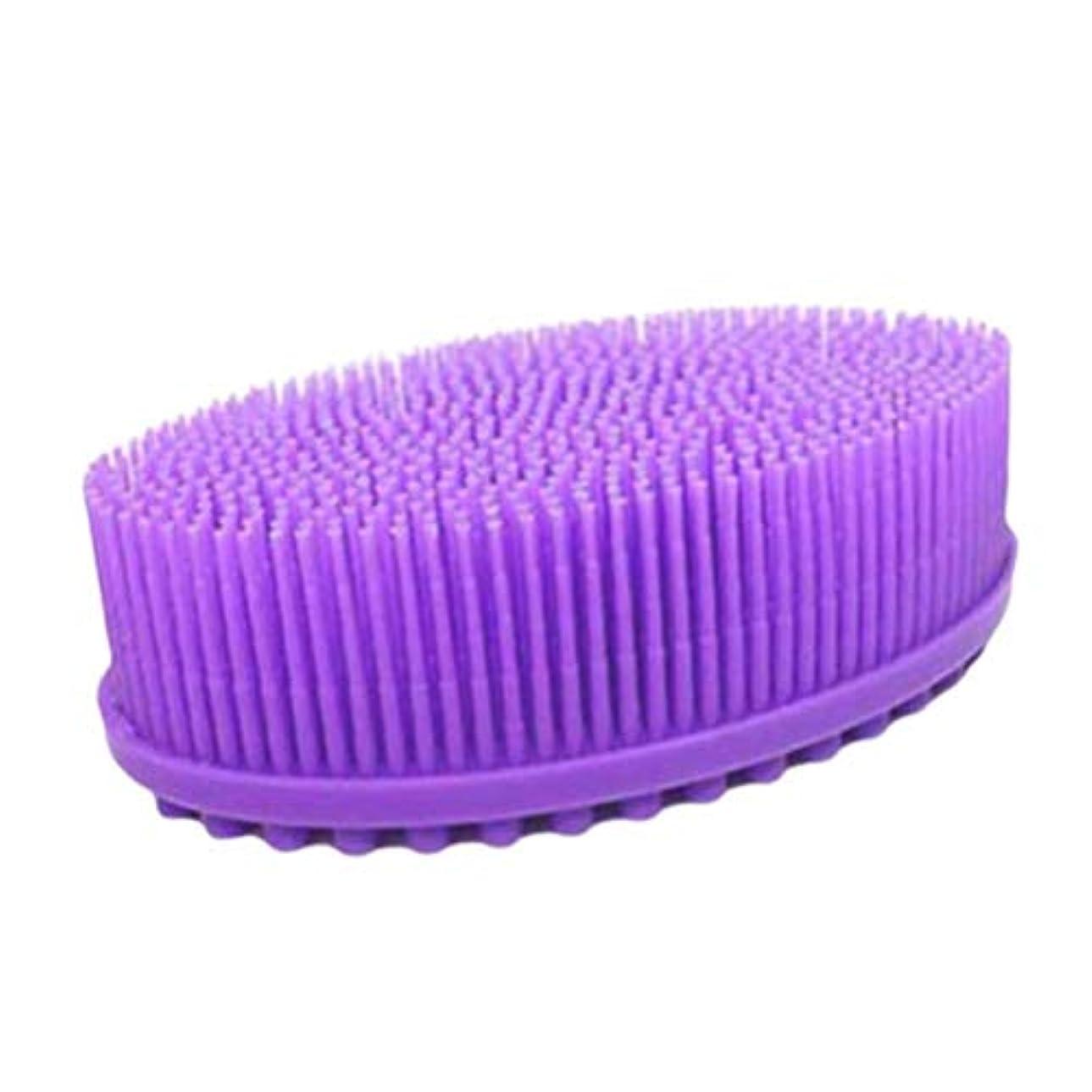 肺でるブロックTOPBATHY ベビーシリコンボディヘアシャンプーブラシバスバックブラシスキンマッサージラウンドヘッドボディシャワーブラシ(紫)