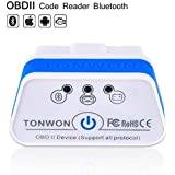 OBD2 Bluetooth Scanner, TONWON Car OBDII Fault Code Reader ELM327 Check Vehicle Engine Light Diagnostic Tool for iOS and Andiord