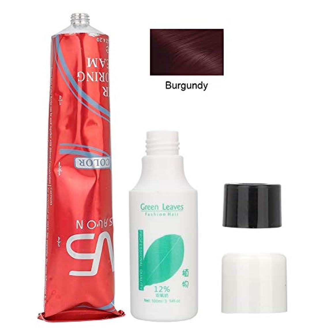 役に立たない宝粘土100ミリリットルユニセックスDIYのヘアカラーリング染色クリーム(01#ブルゴーニュ+二酸素ミルク)