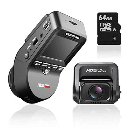 GRABUS ドライブレコーダー 前後カメラ 64GBSDカード付 Wi-Fi GPS 搭載 ドラレコ 1440P フルHD 前後170度広角 SONYセンサー WDR機能 2.4インチ LCDパネル 2カメラ 1200万画素 マイク内蔵 リアカメラ 暗視機能 駐車監視 常時録画 日本語取説書