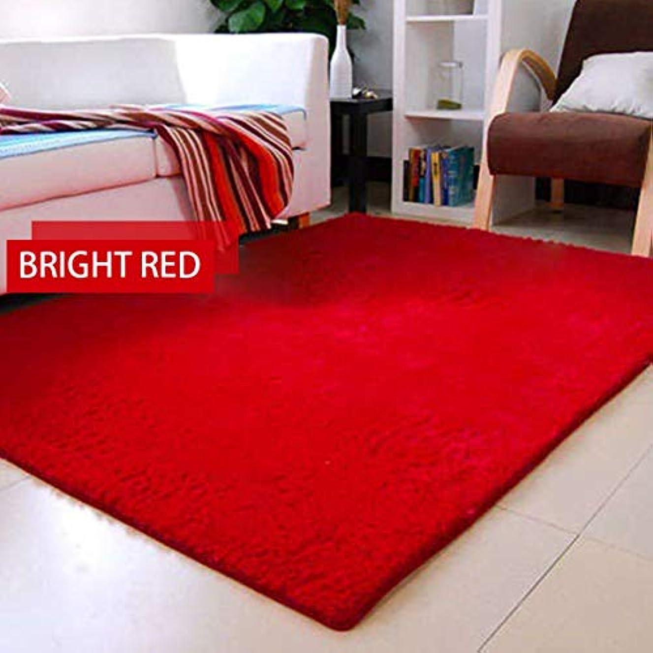 前述のメーカーサイレント超柔らかい厚い屋内モーデンエリア敷物パッド寝室リビングルームのリビングルームの敷物毛布足布家の装飾-赤60 * 90 cm