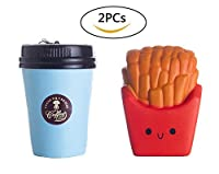 Ailimy 2PCs Squishies Slow Rising Kawaii Scented Soft Jumbo Coffee Cup Fries Squishy Food Toy Child Party Supplies Color Random [並行輸入品]