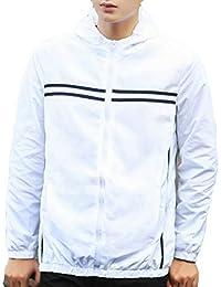 Keaac 男性の屋外の長袖フード付きの新しい軽量スポーツジャケット