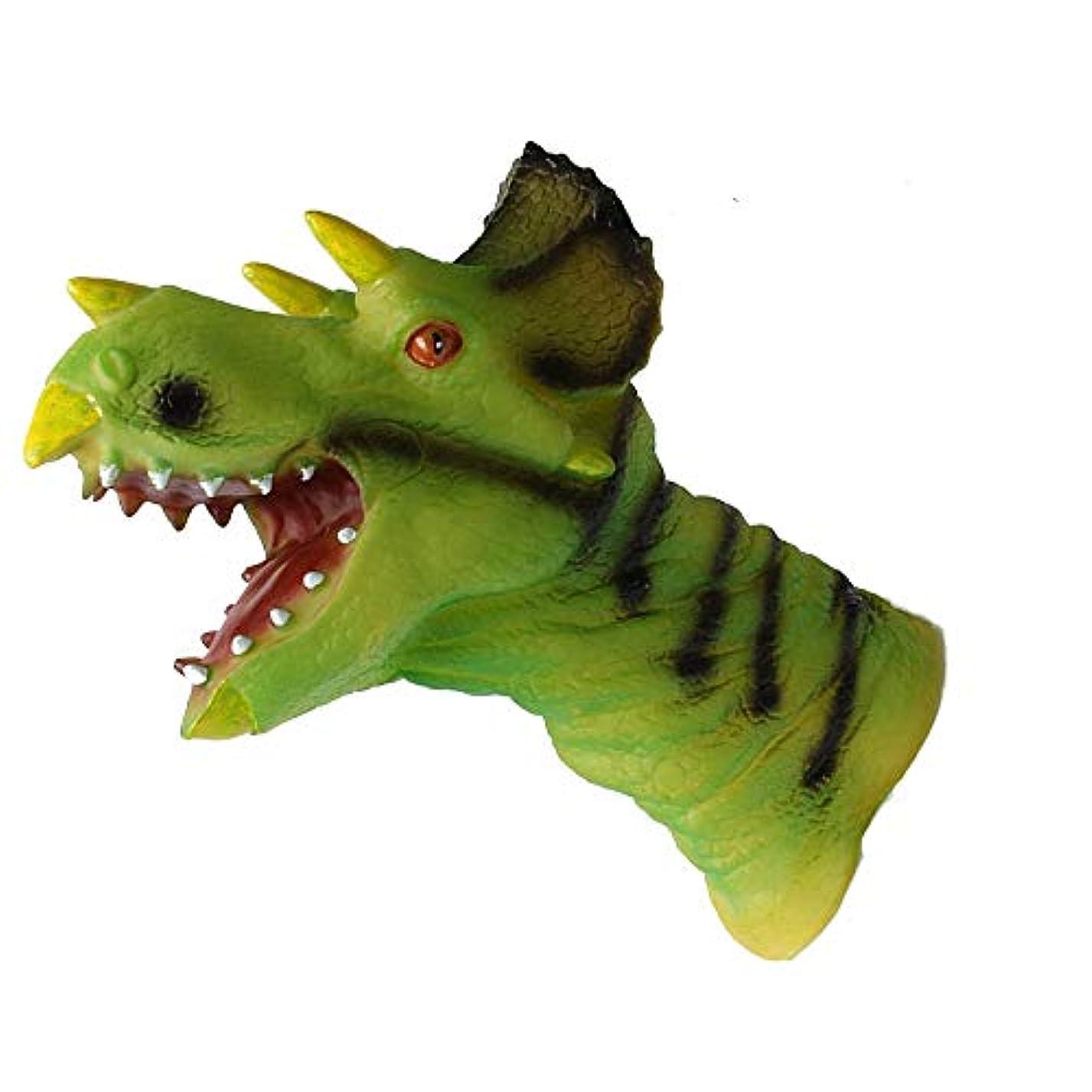 熟練したテメリティマカダムEuone グローブ おもちゃ 動物 ハンドパペット ロールプレイ リアルなグリーン 恐竜 ヘッドグローブ ソフトトイ