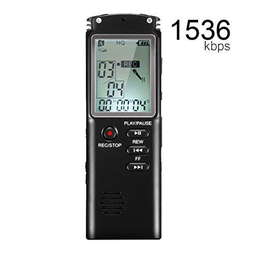 ボイスレコーダー EIVOTOR ICレコーダー 小型 8GB 高音質 長時間連続録音 録音機 操作簡単 内蔵スピーカー 1536kbps (1年保証&日本語説明書付き)
