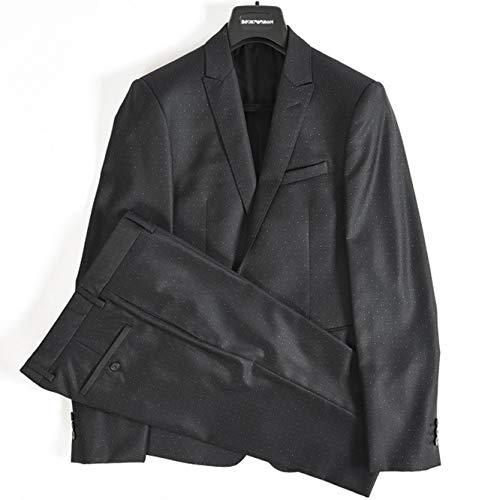 [エンポリオアルマーニ] スーツ 1つボタン シングル DAVID LINE メンズ ウール ドット 水玉 ネイビー 紺【並行輸入品】