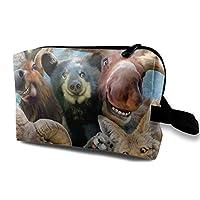 面白い動物 鼠 狼 熊 鹿 化粧バッグ 収納袋 女大容量 化粧品クラッチバッグ 収納 軽量 ウィンドジップ