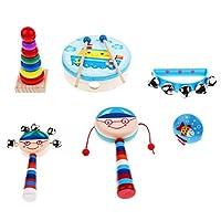 T TOOYFUL 打楽器おもちゃ 楽器おもちゃ 打楽器 おもちゃ 木製 ベビー 知育玩具 全7種類  - ボーイ6個-1