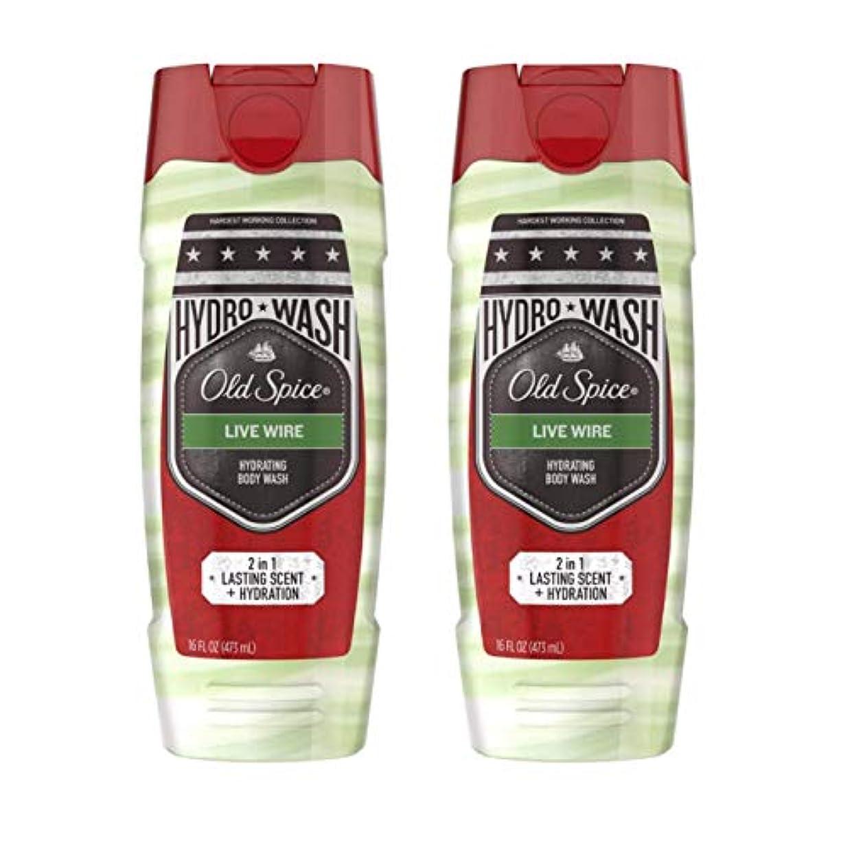 Old Spíce オールドスパイスハイドレイティングボディウォッシュ - ハーデスト?ワーキングコレクション - ライブワイヤー - ネット重量。ボトルあたり16液量オンス(473 ml)を - 2本のボトルのパック