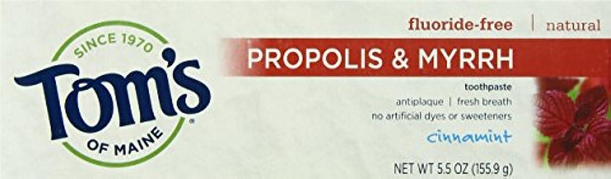 微弱賢明な金曜日海外直送品 Tom's Of Maine Propolis & Myrrh Fluoride Free Toothpaste Cinnamint, 5.5 Oz
