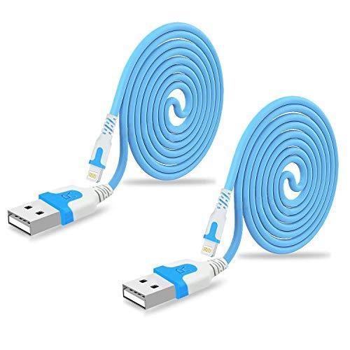 【2本セット】RoiCiel iphone 充電ケーブル 屈曲耐性高い 高耐久ライトニングケーブルiPhoneXS/XSMax/XR/X/8/7/7/6/5/SE、iPad/iPod 用対応のlightning usbケーブルRC-ZMS068 (2.4M 2本セット, ブルー)