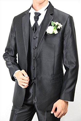 808d237697120 ... ベスト アスコットタイの2点セット ブラック 黒 結婚式 ウエディング 二次会 パーティ グルームズマン タキシード ...