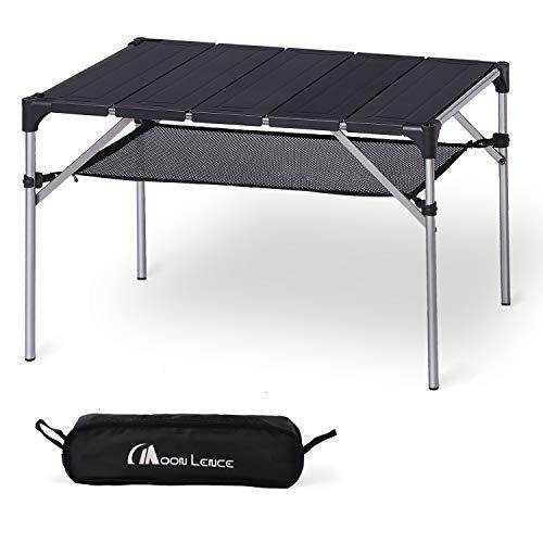 Moon Lence キャンプテーブル ロールテーブル アルミ 机 耐荷重30kg コンパクト 折りたたみ式 収納ケース付き 超軽量 アウトドア ハイキング BBQ