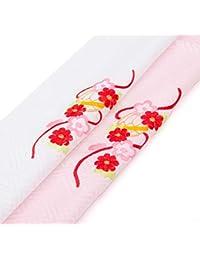 【メール便対応】七五三 着物 三歳 半衿 ピンク ホワイト 子供用 キッズ 半襟 半えり 刺繍 刺繍衿 3560-00001