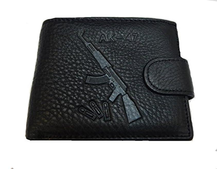 適用済みふさわしい酸素モサドak47メンズ純正ブラックレザー財布 – Gift Boxed二つ折りレザー財布