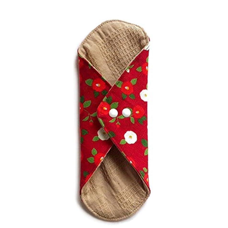 その後農奴秀でる華布のオーガニックコットンのあたため布 Lサイズ (約18×約20.5×約0.5cm) 華椿(紅)