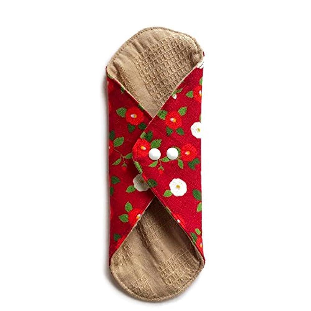 ビリー植木書き出す華布のオーガニックコットンのあたため布 Lサイズ (約18×約20.5×約0.5cm) 華椿(紅)