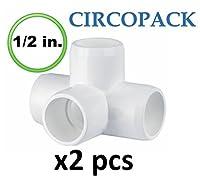 "circopack 1/ 2"" PVC 4ウェイティー継手コネクタ( 2ピース)"