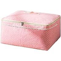 綿のリネン収納袋ピンクドットパターン高品質のポータブル防湿旅行オーガナイザー羽毛布団の衣服移動仕上げ荷物の収納袋 (サイズ さいず : 55 * 45 * 29cm)