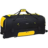 """Travelers Club 30"""" Adventure Rolling 2-Tone Multi-Pocket Large Packing Capacity Duffel with Bonus Bottom Compartment, Black Color Option"""
