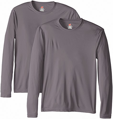 Hanes Men's Long Sleeve Cool DRI T-Shirt UPF 50+, Graphite, Large (Pack of 2)