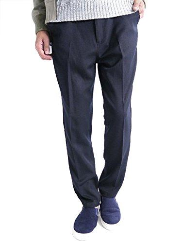 (モノマート) MONO-MART トラウザーズ ストレッチ スラックス パンツ テーパード スキニー 快適 MODE チノ ビジネス メンズ ネイビー 細身 Mサイズ