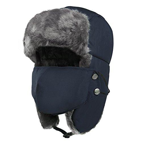 VBIGER 飛行帽 防寒帽子 パイロットキャップ マスク 耳あて付 メンズ レディース 冬 スキー アウトドア 男女兼用(ネイビー)
