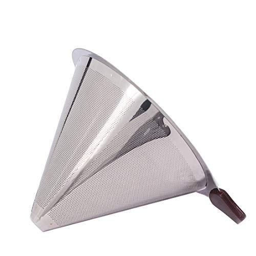 コーヒードリッパー ステンレスフィルター 紙フィルタ不要 2層メッシュ 二重構造 円錐 ペーパーレスコーヒーフィルター 再利用可能